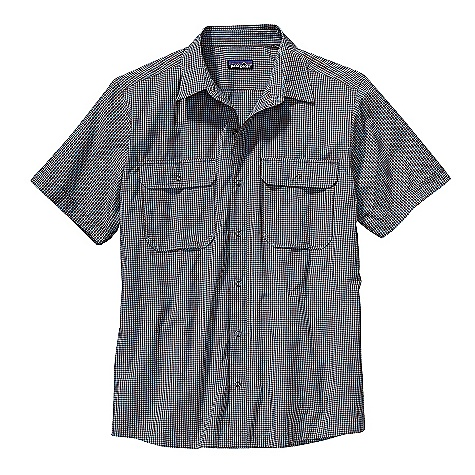 Free Shipping. Patagonia Men's SS El Ray Shirt DECENT FEATURES of the Patagonia Men's Short Sleeve El Ray Shirt Easy-care, all-recycled polyester, nylon blend with reinforcing contrast bar tacks Quick-drying, wrinkle-resistant shirt with ring-snapped placket Flapped chest pockets secure with ring snaps Provides 40-UPF sun protection Shirttail hem The SPECS Regular fit Weight: 5.6 oz / 158 g 2.5-oz 57% all-recycled polyester, 43% nylon, with 40-UPF sun protection This product can only be shipped within the United States. Please don't hate us. - $69.00