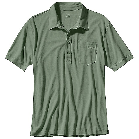 Free Shipping. Patagonia Men's Fish Polo Shirt DECENT FEATURES of the Patagonia Men's Fish Polo Shirt Fabric is a wrinkle-free organic cotton/Tencel blend that's high wicking and quick to dry Front button placket The SPECS Regular fit Weight: 198 g / 7 oz 62% organic cotton/38% TenceLiter Recyclable through the Common Threads Recycling Program This product can only be shipped within the United States. Please don't hate us. - $59.00