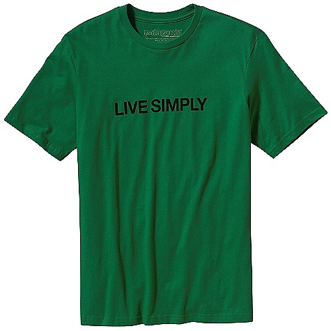 Patagonia Men's Live Simply Text T-Shirt DECENT FEATURES of the Patagonia Men's Live Simply Text T-Shirt Screen-print inks are PVC- and phthalate-free Taped shoulder seams for comfort Artist: Geoff McFetridge The SPECS Slim fit Weight: 4.4 oz / 125 g 4.4-oz 100% organic cotton This product can only be shipped within the United States. Please don't hate us. - $30.00