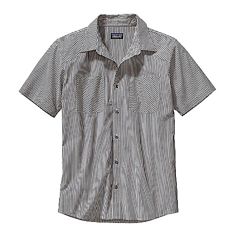 Free Shipping. Patagonia Men's Farmstand Shirt DECENT FEATURES of the Patagonia Men's Farmstand Shirt Lightweight, breathable organic cotton polyester plain weave Button-front shirt with yoke details front and back Fabric cut on the bias for contrast on the chest pockets and yoke Metal buttons Shirttail hem The SPECS Slim fit Weight: 6.6 oz / 187 g 3.7-oz 70% organic cotton, 30% polyester plain weave This product can only be shipped within the United States. Please don't hate us. - $69.00
