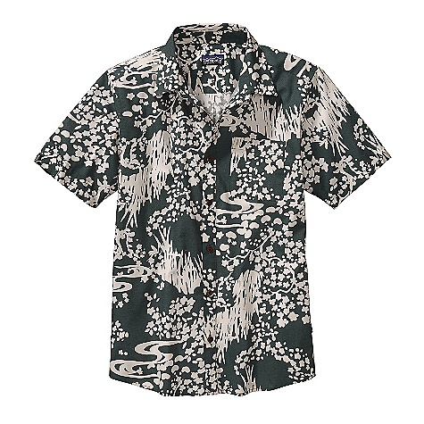 Free Shipping. Patagonia Men's Harvest Shirt DECENT FEATURES of the Patagonia Men's Harvest Shirt Made of lightweight, durable organic cotton in unique prints Placket features coconut buttons off-set shoulder yoke Left-chest pocket and sleeve detail Shirttail hem The SPECS Slim fit Weight: 5.7 oz / 161 g 3.5-oz 100% organic cotton This product can only be shipped within the United States. Please don't hate us. - $69.00