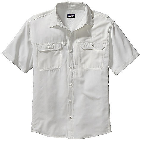 Free Shipping. Patagonia Men's Sol Patrol Shirt DECENT FEATURES of the Patagonia Men's Sol Patrol Shirt Lightweight, quick-drying polyester provides 30-UPF sun protection Double-layer collar converts to stand-up collar for extra sun protection stays put with hidden snaps at collar points Comfortable mesh fabric at center back, side vents and arms facilitates ventilation Mesh-lined, button-through chest pockets inset zippered pocket at right Rolled-up sleeves secure with self-fabric tab button cuffs The SPECS Relaxed fit Weight: 8.6 oz / 244 g 2.4-oz 100% polyester ripstop with 30-UPF sun protection This product can only be shipped within the United States. Please don't hate us. - $75.00
