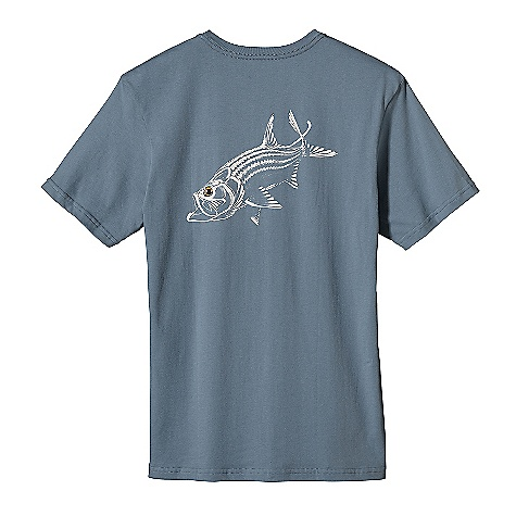 Patagonia Men's Tarpon Time T-Shirt DECENT FEATURES of the Patagonia Men's Tarpon Time T-Shirt Screen-print inks are PVC- and phthalate-free Taped shoulder seams for comfort 20 singles super soft ringspun organic cotton Artist: Tim Borski The SPECS Regular fit Weight: 6.9 oz / 195 g 5.4-oz 100% organic cotton This product can only be shipped within the United States. Please don't hate us. - $35.00