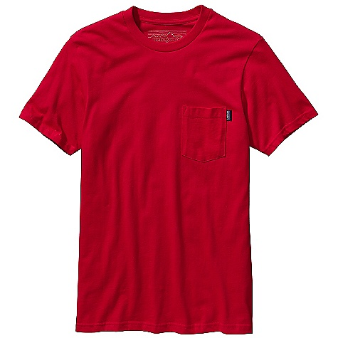 Patagonia Men's Vintage Logo Pocket T-Shirt DECENT FEATURES of the Patagonia Men's Vintage Logo Pocket T-Shirt Screen-print inks are PVC-and phthalate-free Taped shoulder seams for comfort Rugged yet comfortable 20 singles 100% organic cotton jersey The SPECS Weight: 6.95 oz / 197 g Slim fit 5.4-oz 100% organic cotton This product can only be shipped within the United States. Please don't hate us. - $35.00