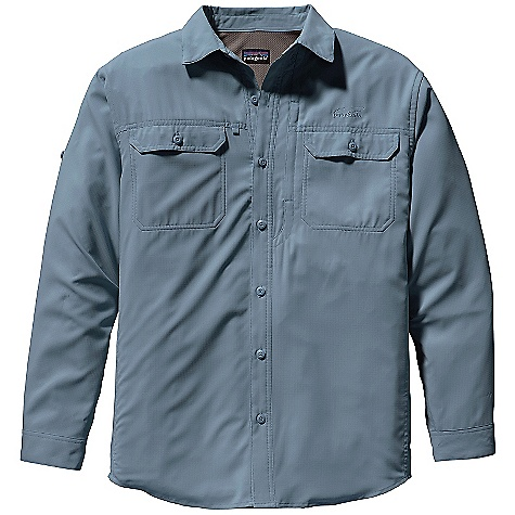 Free Shipping. Patagonia Men's L-S Sol Patrol Shirt DECENT FEATURES of the Patagonia Men's Long Sleeve Sol Patrol Shirt Lightweight, quick-drying polyester fabric provides 30-UPF sun protection Double-layer collar converts to stand-up collar for extra sun protection Stays put with hidden snaps at collar points Mesh-lined, button-through chest pockets Inset zippered pocket on right side Comfortable mesh fabric at center back, side vents and arms facilitates ventilation Rolled-up sleeves secure with self-fabric tab button cuffs The SPECS Relaxed fit Weight: 8.6 oz / 243 g 2.4-oz 100% polyester ripstop with 30-UPF sun protection This product can only be shipped within the United States. Please don't hate us. - $79.00
