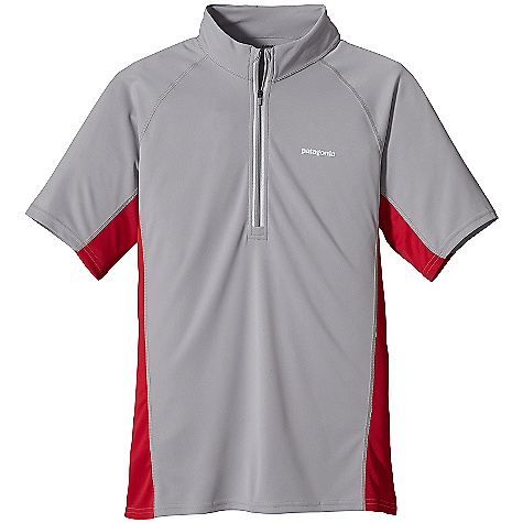 On Sale. Patagonia Men's Fore Runner Zip-Neck DECENT FEATURES of the Patagonia Men's Fore Runner Zip-Neck Super soft polyester double knit fabric with 30-UPF sun protection wicks moisture and is highly breathable Zip-neck design covers the neck for sun protection and deep zip for venting Offset shoulder seams for minimum chafe Reflectivity built into center-front zipper and front/back heat-transfer logos The SPECS Slim fit Weight: 5.1 oz / 144 g 3.5-oz 100% polyester double knit with Gladiodor odor control for the garment This product can only be shipped within the United States. Please don't hate us. - $23.99