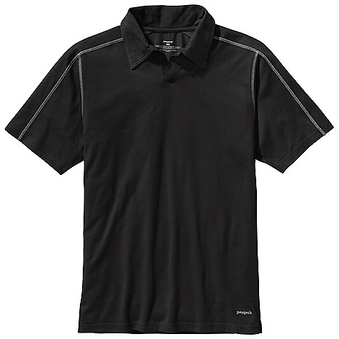 Free Shipping. Patagonia Men's Stretch Polo DECENT FEATURES of the Patagonia Men's Stretch Polo Made of a plaited stretch fabric blend with a soft organic cotton exterior and polyester on the inside to wick moisture Short placket and offset shoulder seams for pack-wearing comfort Contrast stitching and logo Provides 50+ UPF sun protection Straight hem The SPECS Slim fit 5.8-oz 55% organic cotton/35% all-recycled polyester/10% spandex jersey knit, with 50+ UPF sun protection This product can only be shipped within the United States. Please don't hate us. - $59.00