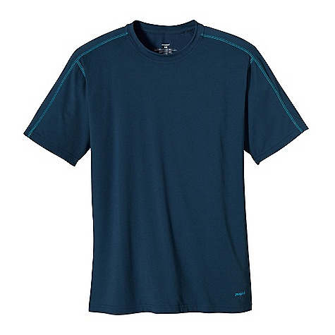 Patagonia Men's Stretch Tee DECENT FEATURES of the Patagonia Men's Stretch Tee Plaited stretch fabric blend has a soft cotton exterior with polyester on the inside to wick moisture Crewneck tee with offset shoulder seams for pack-wearing comfort With contrast stitching and logo Provides 50+ UPF sun protection Straight hem The SPECS Slim fit Weight: 7.6 oz / 215 g 5.8-oz 55% organic cotton, 35% recycled polyester, 10% spandex jersey knit This product can only be shipped within the United States. Please don't hate us. - $49.00