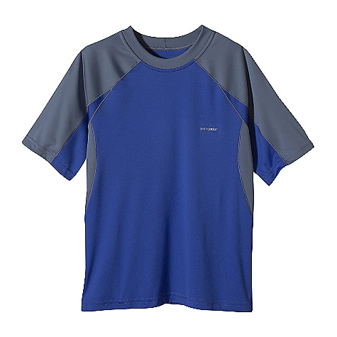 On Sale. Patagonia Boy's Sun-Lite T-Shirt DECENT FEATURES of the Patagonia Boys' Sun-Lite T-Shirt Soft and lightweight polyester top with 50+ UPF sun protection Raglan sleeves and underarm panels keep seams out of the way of pack straps Regular fit The SPECS Weight: 82 g / 2.9 oz Fabric: 4-oz 100% polyester with Gladiodor odor control for the garment and 50+ UPF sun protection Recyclable through the Common Threads Recycling Program This product can only be shipped within the United States. Please don't hate us. - $12.99