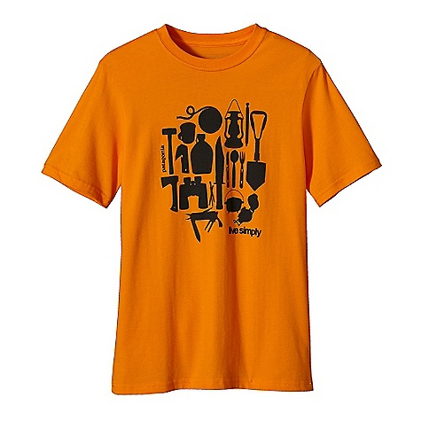 Camp and Hike Patagonia Boys' Live Simply Camping T-Shirt DECENT FEATURES of the Patagonia Boys' Live Simply Camping T-Shirt Screen-print inks are PVC - and phthalate-free Taped shoulder seams for comfort Rugged yet comfortable 20 singles 100% organic cotton jersey The SPECS Regular fit Weight: 4.5 oz / 128 g 5.4-oz 100% organic cotton This product can only be shipped within the United States. Please don't hate us. - $25.00