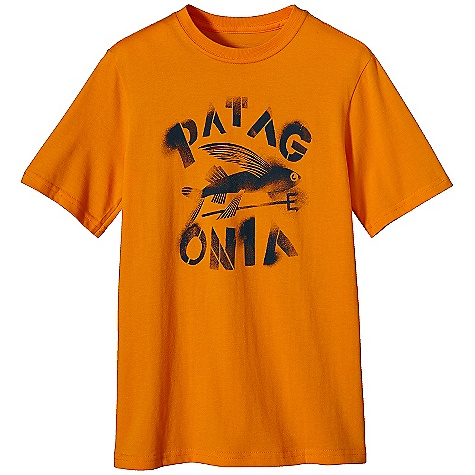 Patagonia Boys' Spray Paint Flying Fish T-Shirt DECENT FEATURES of the Patagonia Boys' Spray Paint Flying Fish T-Shirt Screen-print inks are PVC - and phthalate-free Taped shoulder seams for comfort Rugged yet comfortable 20 singles 100% organic cotton jersey The SPECS Regular fit Weight: 4.5 oz / 128 g 5.4-oz 100% organic cotton This product can only be shipped within the United States. Please don't hate us. - $25.00