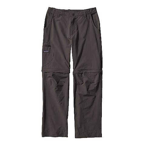 Free Shipping. Patagonia Men's Rock Guide Zip-Off Pants DECENT FEATURES of the Patagonia Men's Rock Guide Zip-Off Pants Versatile, durable nylon/spandex fabric has DWR (durable water repellent) finish and 40-UPF sun protection Zip fly with button closure and belt loops Gusseted crotch articulation for better mobility 4-pocket design: two front slash pockets with mesh pocket bag for venting, rear right zippered pocket, and side thigh patch pocket with zipper Zip off legs to convert into shorts Color-coded zippers make reattaching the legs a breeze Recyclable through the Common Threads Recycling Program The SPECS Weight: 340 g / 12 oz Inseams: Pant: 32in., Short: 11in. 4.5-oz stretch-woven 96% nylon/4% spandex, with a Deluge DWR (durable water repellent) finish and 40-UPF sun protection This product can only be shipped within the United States. Please don't hate us. - $89.00