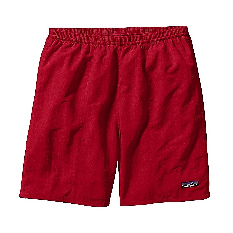 Patagonia Men's Baggies 7Inch Short DECENT FEATURES of the Patagonia Men's Baggies 7Inch Short Quick-drying nylon with a Deluge DWR finish Elasticized waistband with internal drawstring quick-drying black mesh liner On-seam side pockets reduce drag in water pocket bags with drain-and-dry mesh corners rear snap pocket The SPECS Regular fit Weight: 8.1 oz / 230 g 4.2-oz 100% nylon with a Deluge DWR (durable water repellent) finish Lining: 2.2-oz 100% polyester tricot mesh This product can only be shipped within the United States. Please don't hate us. - $49.00