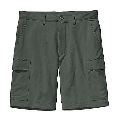 Free Shipping. Patagonia Men's Roving Cargo Short DECENT FEATURES of the Patagonia Men's Roving Cargo Short Light-wearing, durable nylon canvas has 50+ UPF sun protection Shorts have belt loops, zip fly with metal snap closure, and double-needle stitching details Two front slash pockets and welted right rear drop-in pocket all with breathable mesh pocket bags Cargo pockets on thighs secure with hidden metal button Gusseted crotch for increased mobility The SPECS Regular fit Weight: 9.3 oz / 263 g Inseam: 10in. 5.4-oz 100% nylon canvas with 50+ UPF sun protection This product can only be shipped within the United States. Please don't hate us. - $69.00