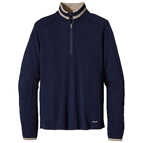 On Sale. Free Shipping. Patagonia Men's Merino 1-4 Zip Sweater DECENT FEATURES of the Patagonia Men's Merino 1/4 Zip Sweater Premium 100% merino wool 1/4-zip pullover sweater with stand-up collar Rib-knit contrast on collar, shoulders, cuffs, under sleeves and along side seam Tonal color accents on collar and cuff ribs The SPECS Regular fit 12-gauge 100% merino wool Weight: 15 oz / 425 g This product can only be shipped within the United States. Please don't hate us. - $95.99