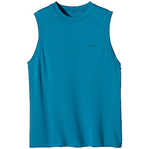 Patagonia Men's Gamut Sleeveless Shirt DECENT FEATURES of the Patagonia Men's Gamut Sleeveless Shirt Polyester/spandex jersey combined with mesh knit fabrics provide maximum breathability Chafe-free comfort and a great fit Shirt is tag-free for itch-free comfort The SPECS Slim fit Weight: 3.4 oz / 96 g 3.7-oz 95% polyester (75% recycled), 5% spandex seamless variable knit 25-UPF sun protection Gladiodor odor control for the garment This product can only be shipped within the United States. Please don't hate us. - $45.00