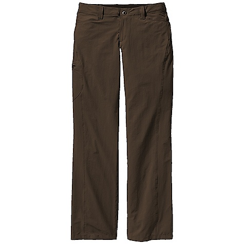 Free Shipping. Patagonia Women's Rock Guide Pants DECENT FEATURES of the Patagonia Women's Rock Guide Pants Lightweight stretch-woven nylon with 40-UPF sun protection and a Deluge DWR finish Zip fly and button closure Gusseted crotch Pockets: Two front drop-in, two zippered back (below yoke), zippered right thigh Forward-angled side seams Regular rise Straight leg The SPECS Regular fit Weight: 10.6 oz / 300 g Inseam: 32in. 4.5 oz 96-denier 96% nylon 4% spandex, with a Deluge DWR (durable water repellent) finish and 40-UPF sun protection This product can only be shipped within the United States. Please don't hate us. - $79.00