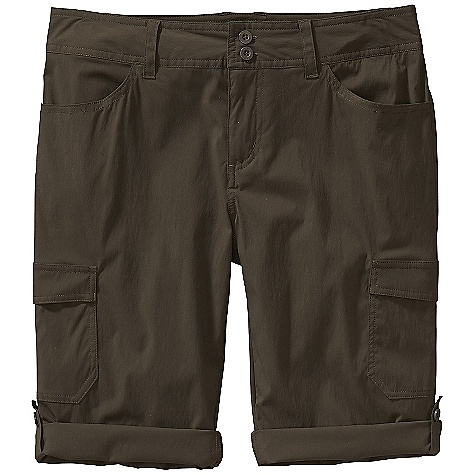 Free Shipping. Patagonia Women's Solimar Short DECENT FEATURES of the Patagonia Women's Solimar Short Lightweight, stretchy fabric with 30-UPF sun protection and a Deluge DWR finish Shorts have belt loops, zip fly and double-button closure Two front drop-in pockets Two back drop-in pockets with flaps Two cargo pockets on thigh Cuffs roll up, secure with button on tab Updated styling and pocketing Rolled leg opening and longer length The SPECS Regular fit Inseam: 13 1/2in., Rolls: up to: 11in. Weight: 5 oz / 141 g 3-oz 93% nylon, 7% spandex with a Deluge DWR (durable water repellent) finish and 30-UPF sun protection This product can only be shipped within the United States. Please don't hate us. - $69.00