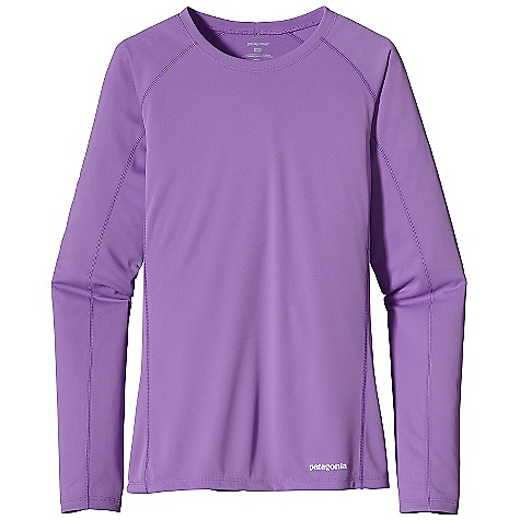 Patagonia Women's L-S Fore Runner Shirt DECENT FEATURES of the Patagonia Women's Fore Runner Long Sleeve Shirt Moisture-wicking, breathable polyester double-knit with 30-UPF sun protection Feminine self-fabric crewneck wicks moisture Offset shoulder seams reduce chafe Reflective logos on left hem and center back neck The SPECS Slim fit Weight: 3.9 oz / 111 g 3.5-oz 100% polyester double knit with 30-UPF sun protection and Polygiene permanent odor control This product can only be shipped within the United States. Please don't hate us. - $45.00