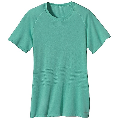 Patagonia Women's S-S Seamless Gamut Shirt DECENT FEATURES of the Patagonia Women's Short Sleeve Seamless Gamut Shirt Made of polyester jersey and mesh-knit fabric with 25-UPF sun protection for maximum breath ability and chafe-free comfort Offset shoulder seams reduce chafing Slim-fitting silhouette provides a great fit Tag free for comfort The SPECS Slim fit Weight: 3.2 oz / 90 g 3.7-oz 95% polyester (75% recycled)/5% spandex seamless variable knit, with 25-UPF sun protection and Gladiodor odor control for the garment This product can only be shipped within the United States. Please don't hate us. - $49.00