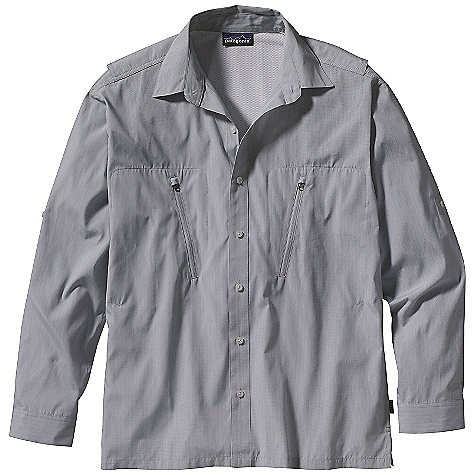 Free Shipping. Patagonia Men's Long-Sleeved Cool Shade Shirt DECENT FEATURES of the Patagonia Men's Cool Shade Long-Sleeved Shirt Clean modern styling in a recycled polyester/nylon yarn-dye blend with 40-UPF sun protection Two chest zip pockets sized to fit fly boxes Front-button placket Vented back to allow in cooling breezes Roll up sleeve tabs 40-UPF sun protection The SPECS Relaxed fit Weight: 232 g / 8.2 oz 57% all-recycled polyester/43% nylon yarn dye with 40-UPF sun protection Recyclable through the Common Threads Recycling Program This product can only be shipped within the United States. Please don't hate us. - $79.00
