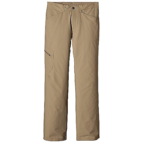 On Sale. Free Shipping. Patagonia Men's Rock Craft Pant DECENT FEATURES of the Patagonia Men's Rock Craft Pant Lightweight stretch-woven nylon/spandex with a Deluge DWR finish and 40-UPF sun protection Belt loops zip fly with metal snap closure Pockets: Two front two rear with envelope closures right thigh patch zippered pocket Gusseted crotch and articulated knees for ease of movement The SPECS Regular fit Weight: 10.4 oz / 295 g Inseam: short: 30in., regular: 32in., long: 34in. 4.5-oz 96% nylon 4% spandex with a Deluge DWR finish and 40-UPF sun protection This product can only be shipped within the United States. Please don't hate us. - $42.99