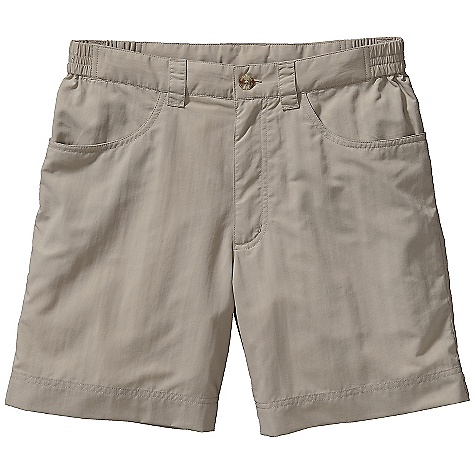 Free Shipping. Patagonia Men's Home Waters Short DECENT FEATURES of the Patagonia Men's Home Waters Short Durable, quick-drying nylon taslan fabric, with a DWR finish and 50+ UPF sun protection Elasticized waistband with button closure for a comfortable fit Jeans-style front pockets with mesh for drainage Two back pockets one with a secure zipper closure Gusseted crotch adds mobility The SPECS Regular fit Weight: 6 oz / 170 g 3.4-oz 100% nylon taslan with a DWR (durable water repellent) finish and 50+ UPF sun protection Inseam: 7in. This product can only be shipped within the United States. Please don't hate us. - $59.00