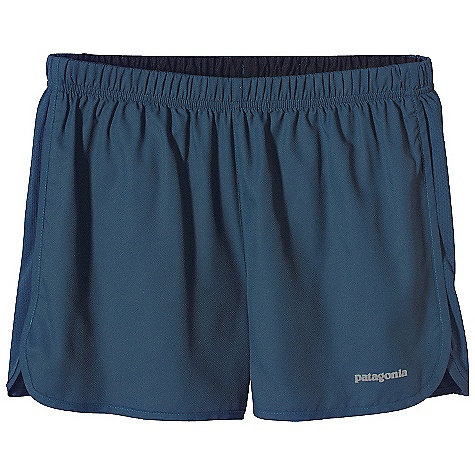 Patagonia Men's Strider 3IN Short DECENT FEATURES of the Patagonia Men's Strider 3in. Short Ultra light weight polyester dries fast and has a smooth hand for chafe-free comfort Covered elastic waistband with internal draw cord secures the fit Lightweight waistband and built-in liner are breathable, moisture-wicking and dry quickly Internal envelope pocket Reflective heat transfer logo at left hem The SPECS Regular fit Inseam: 3in. Weight: 3.7 oz / 104 g Body: 2.3-oz 100% 50-denier polyester (50% recycled) micro dobby with moisture-wicking performance and a Deluge DWR finish Mesh Inset: 3.1-oz 100% polyester mesh (30% recycled) mesh Liner: 3.8-oz 100% micro denier polyester crepe, with moisture-wicking performance This product can only be shipped within the United States. Please don't hate us. - $35.00