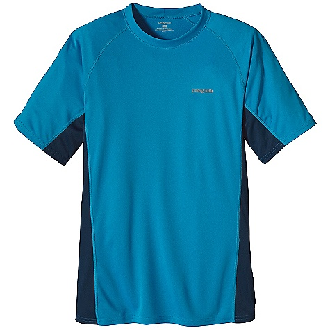 Patagonia Men's S-S Fore Runner Shirt DECENT FEATURES of the Patagonia Men's Short Sleeve Fore Runner Shirt Super soft polyester double knit fabric with 30-UPF sun protection wicks moisture and is highly breathable Crewneck, made of non-binding, moisture-wicking self fabric Offset shoulder seams for minimum chafe Reflective heat-transfer logo on chest and center back The SPECS Slim fit Weight: 4.5 oz / 127 g Fabric: 3.5-oz 100% polyester double knit with Gladiodor odor control for the garment This product can only be shipped within the United States. Please don't hate us. - $39.00