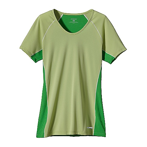 On Sale. Free Shipping. Patagonia Women's S-S Draft Shirt DECENT FEATURES of the Patagonia Women's Short Sleeve Draft Shirt Capilene 1 combined with polyester jersey fabrics provide maximum breathability, quick dry times and a great fit Self-fabric neckline with a slight scoop Minimal seam construction provides full mobility without chafing Reflective heat-transfer front logo and back graphic The SPECS Slim fit Weight: 2.6 oz / 73 g Body: 3.4-oz 100% polyester Contrast Panels: 3.1-oz 100% polyester mesh (30% recycled), Both with Gladiodor odor control for the garment This product can only be shipped within the United States. Please don't hate us. - $21.99