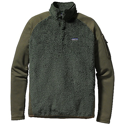 Free Shipping. Patagonia Men's Los Lobos Snap - T DECENT FEATURES of the Patagonia Men's Los Lobos Snap-T Pullover Made of a warm, polyester high-pile directional fleece; shoulders, sleeves, and side panels are made of Polartec Power Dry Pullover with 4-snap placket and stand-up collar Raglan sleeves for pack-wearing comfort Easy-access zippered pocket on left bicep Micro-polyester jersey trim on neck and hem Hip length Regular fit The SPECS Weight: 11.6 oz / 329 g Fabric: Body: 8.6-oz 100% polyester deep-pile fleece Shoulders, Sleeves and Side Panels: 5.9-oz Polartec Power Dry 94% polyester (53% recycled)/6% spandex This product can only be shipped within the United States. Please don't hate us. - $119.00