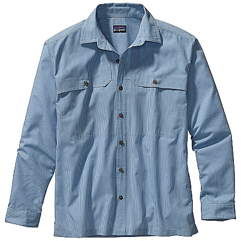 On Sale. Free Shipping. Patagonia Men's Long Sleeved Island Hopper Shirt DECENT FEATURES of the Patagonia Men's Island Hopper Long-Sleeved Shirt Quick-drying fabric is highly breathable and comfortable, with 15-UPF sun protection Reach-through chest utility pockets with sculpted front pocket flaps The SPECS Relaxed fit Weight: 9 oz / 255 g 65% all-recycled polyester 35% organic cotton plain weave with 15-UPF sun protection This product can only be shipped within the United States. Please don't hate us. - $54.99