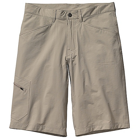 Free Shipping. Patagonia Men's Rock Craft Short DECENT FEATURES of the Patagonia Men's Rock Craft Short Made of lightweight stretch-woven nylon/spandex fabric, with a Deluge DWR finish and 40-UPF sun protection Zip fly with metal snap closure Belt loops Pockets: Two front, angled two-rear, patch with envelope closure zippered patch pocket on right thigh Gusseted crotch for ease of movement The SPECS Regular fit Inseam: 12in. Fabric: 4.5-oz 96% nylon, 4% spandex, with a Deluge DWR finish and 40-UPF sun protection This product can only be shipped within the United States. Please don't hate us. - $69.00