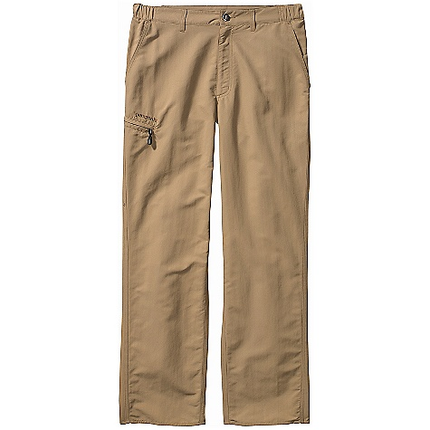 Free Shipping. Patagonia Men's Guidewater Pants DECENT FEATURES of the Patagonia Men's Guidewater Pants Tough, lightweight woven nylon dries quickly and provides 50+ UPF sun protection Two front pockets one zippered side-leg pocket, and one rear pocket all have mesh drainage Constructed waist with two stretch sections and zip fly provide all-day comfort and quick relief The SPECS Regular fit Weight: 12.2 oz / 346 g 4.3-oz 100% nylon with a DWR (durable water repellent) finish and 50+ UPF sun protection Inseam: 32in. This product can only be shipped within the United States. Please don't hate us. - $79.00