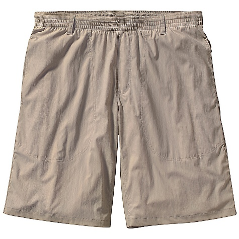 Free Shipping. Patagonia Men's Tropical Flats Shorts DECENT FEATURES of the Patagonia Men's Tropical Flats Shorts Nylon/spandex blend adds just enough stretch for easy movement in these lightweight, quick-drying pants with 30-UPF sun protection Elastic waist with draw cord for comfort On-seam pockets with mesh that drain unique snap on pocket holds pocket bag open when wind is at wearer's back so shorts vent The SPECS Regular fit Weight: 5.4 oz / 153 g 3-oz 93% nylon 7% spandex with 30-UPF sun protection Inseam: 11in. This product can only be shipped within the United States. Please don't hate us. - $59.00