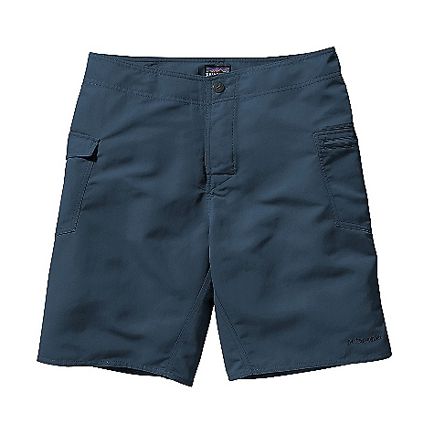 Free Shipping. Patagonia Men's Journeyman Short DECENT FEATURES of the Patagonia Men's Journeyman Short Recyclable, lightweight nylon fabric is durable and quick-drying Water-savvy walk shorts with a low-profile waistband, separating fly and rubber-button closure Patch pocket on right thigh has a buttoned flap and internal key loop patch pocket on left thigh has a non-corrosive recyclable plastic zipper both pockets have self-draining grommets Forward inseam at crotch eliminates chafing Hem hits just above the knee The SPECS Regular fit Weight: 5.8 oz / 164 g Inseam: 9in. 4.3-oz 100% Supplex nylon with a DWR durable water repellent finish This product can only be shipped within the United States. Please don't hate us. - $59.00