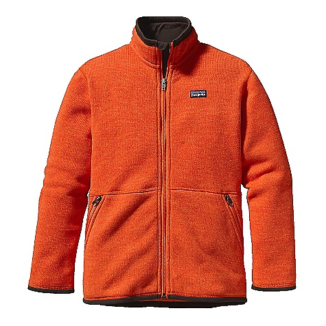 On Sale. Free Shipping. Patagonia Boys' Better Sweater Jacket DECENT FEATURES of the Patagonia Boys' Better Sweater Jacket Polyester sweater-knit face with a fleece interior and heathered over dyed yarns Stand-up collar, sleeve opening and hem lined with brushed polyester jersey for additional comfort soft fabric turns over top of collar for comfort Zipper with internal wind flap and zipper garage Two zippered hand warmer pockets Hand-me-down ID label The SPECS Regular fit Weight: 13.2 oz / 374 g 9.5-oz 100% polyester with a sweater-knit face and fleece interior This product can only be shipped within the United States. Please don't hate us. - $70.99