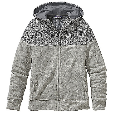 On Sale. Free Shipping. Patagonia Women's Better Sweater Icelandic Hoody DECENT FEATURES of the Patagonia Women's Better Sweater Icelandic Hoody 3-panel hood lined with brushed polyester jersey Full-length zipper has an internal wind flap and zipper garage Side panels with forward seams provide a nice fit through the body Styling details at cuffs and waistband Hand warmer pockets Hip length The SPECS Slim fit Weight: 22.8 oz / 646 g Body: 9.5-oz 100% polyester with a sweater-knit exterior and fleece interior This product can only be shipped within the United States. Please don't hate us. - $86.99