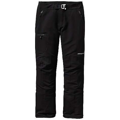 Ski Free Shipping. Patagonia Women's Backcountry Guide Pant DECENT FEATURES of the Patagonia Women's Backcountry Guide Pant Polartec Power Shield stretch-woven nylon/polyester soft-shell fabric is highly breathable, durable, and wind- and water-resistant Separating waist with zip fly and hook-and-loop tab closure has built-in separating belt with adjustable slider hook buckle Lies flat under a harness or backpack Brushed interior for next-to-skin comfort Pockets: Two hand warmers and one right thigh, all with reverse-coil zippers with a DWR finish Articulated knees for mobility Interior waistbelt lies flat under a harness or backpack Zippered fly Thigh vents with mesh for temperature regulation One thigh and two handwarmer pockets with reverse-coil DWR-treated zippers Zippered mesh thigh vents for temperature regulation Gusseted, zippered cuffs with 2-position snaps, edge guards and internal mini-gaiters Ski-boot compatible zippered cuffs with expandable two-position snaps, scuff guards and internal mini-gaiters with tie-down loops The SPECS Regular fit Weight: 25.6 oz / 725 g 9.5-oz Polartec Power Shield stretch-woven 57% polyester, 36% nylon, 7% spandex, with a Deluge DWR (durable water repellent) finish This product can only be shipped within the United States. Please don't hate us. - $249.00