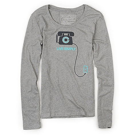 On Sale. Patagonia Women's L-S Live Simply Tele T-Shirt DECENT FEATURES of the Patagonia Women's Long Sleeve Live Simply Tele T-Shirt Screen-print inks are PVC - and phthalate-free Taped shoulder seams for comfort 40 singles, ring spun 100% organic cotton for super soft feel Artist: Geoff McFetridge The SPECS Anika fit Weight: 4.5 oz / 127 g 4-oz 100% organic cotton This product can only be shipped within the United States. Please don't hate us. - $26.99