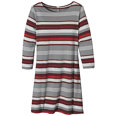 Entertainment Free Shipping. Patagonia Women's 3-4 Sleeved AU Bateau Dress DECENT FEATURES of the Patagonia Women's 3/4 Sleeved AU Bateau Dress Super soft organic cotton/Tencel lyocell jersey knit blend Boat-neck dress can be layered over jeans, leggings, or under sweaters 3/4-length sleeves Mid-thigh length The SPECS Slim fit Weight: 6.2 oz / 175 g 4.8-oz 55% organic cotton, 45% Tencel lyocell jersey knit This product can only be shipped within the United States. Please don't hate us. - $69.00