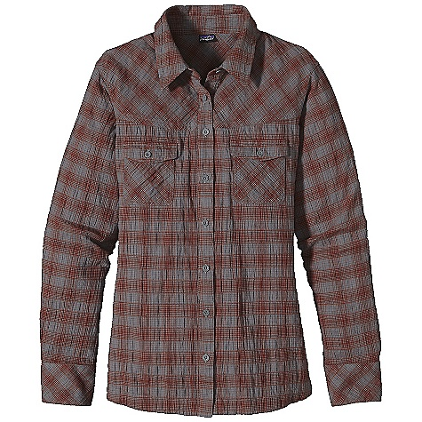 On Sale. Free Shipping. Patagonia Women's L-S Highlands Shirt DECENT FEATURES of the Patagonia Women's Long Sleeve Highlands Shirt Classic yoked shirt style offered in a crinkle organic cotton Button-front placket Chest patch pockets with button flap closures Buttoned cuffs Curved yoke and hem add feminine appeal Hip length The SPECS Regular fit Weight: 9.7 oz / 274 g Crinkle weave: 3.8-oz 91% organic cotton, 8% polyester, 1% spandex Chambray: 4-oz 55% hemp, 45% organic cotton This product can only be shipped within the United States. Please don't hate us. - $41.99