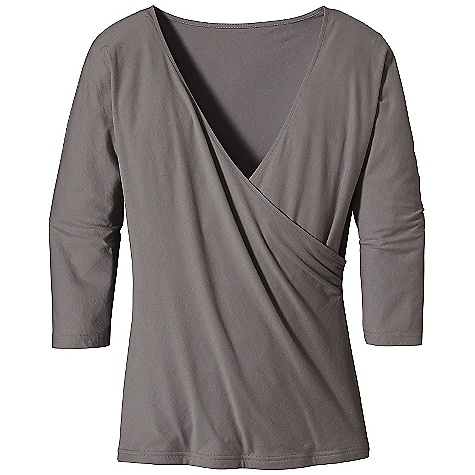 On Sale. Free Shipping. Patagonia Women's Green Gardens Wrap Top DECENT FEATURES of the Patagonia Women's Green Gardens Wrap Top Super soft organic cotton and Tencel lyocell blend Flattering wrap style Elbow-length sleeves Hip length The SPECS Slim fit 4.8-oz 55% organic cotton, 45% Tencel lyocell jersey Weight: 6.2 oz / 175 g This product can only be shipped within the United States. Please don't hate us. - $37.99