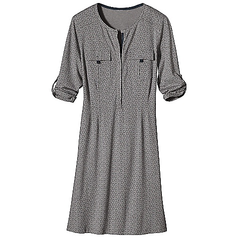 Entertainment Features of the Patagonia Women's Kamala Henley Dress Soft-handed organic cotton jersey-knit blend with smooth drape Snapped placket with taping detail Two pleated pockets with snap and tape closures 3/4-length sleeves roll up to 1/2-sleeve length and secure with a tab and snap Yoke detail Front and back darts for a contoured Fit Above-the-knee length - $66.99