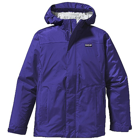 Free Shipping. Patagonia Girls' Torrentshell Jacket DECENT FEATURES of the Patagonia Girls' Torrentshell Jacket Durable 2.5-layer nylon H2No Performance Standard shell with a waterproof/breathable barrier and Deluge DWR finish Three-panel hood with elasticized internal gusset under brim for peripheral vision built-in visor sheds rain and cuts glare Full-length zipper with external storm flap and internal wind flap secures with hook-and-loop closures Hook-and-loop cuff closure to seal out wet weather Two zippered side pockets with reflective pulls one inside mesh drop-in pocket Internal drawcord hem; high-visibility reflective tape across front and back yoke Hand-me-down ID label The SPECS Regular fit Weight: 7.8 oz / 221 g H2No Performance Standard Shell: 2.5-layer, 2.6-oz 50-denier 100% nylon ripstop with a waterproof/breathable barrier and a Deluge DWR (durable water repellent) finish This product can only be shipped within the United States. Please don't hate us. - $89.00
