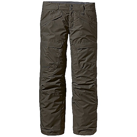 On Sale. Free Shipping. Patagonia Men's Snowshot Pant DECENT FEATURES of the Patagonia Men's Snowshot Pant Durable H2No Performance Standard 2-layer polyester plain weave or ripstop fabric (depending on color) has a waterproof/breathable barrier for storm protection Combination of a brushed and slick mesh lining keeps you warm and wicks moisture Waist details: Brushed tricot lining wicks moisture Adjustable elastic tabs customize the fit Two-button closure and zip fly Loops on rear yoke attach pants to powder skirt on any Patagonia Snow jacket to keep snow out Mesh-lined interior thigh vents release heat and keep snow out Articulated knees improve mobility Gaiters keep snow out Tough scuff guards protect the inside of the leg and bottom hem Zippered pockets: Two hand warmers and two thigh cargos The SPECS Relaxed fit Inseam: 34in. Weight: 26.7 oz / 756 g H2No Performance Standard ripstop Shell: 2-layer, 4.5-oz 75-denier 100% polyester (50% recycled) ripstop with a waterproof/breathable barrier and a Deluge DWR (durable water repellent) finish H2No Performance Standard Plain-Weave Shell: 2-layer, 4.5-oz 75- to 150-denier 100% polyester (48% recycled) plain weave with a waterproof/breathable barrier and a Deluge DWR finish Lining: 100% polyester tricot mesh Gaiters: 2-oz 100% polyester plain weave with a DWR finish This product can only be shipped within the United States. Please don't hate us. - $142.99