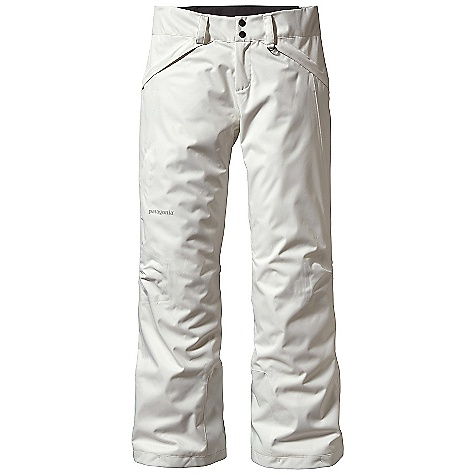 Ski On Sale. Free Shipping. Patagonia Women's Snowbelle Pant DECENT FEATURES of the Patagonia Women's Snowbelle Pant Soft, durable H2No Performance Standard 2-layer polyester herringbone-weave fabric with a waterproof/breathable barrier for storm protection A combination of brushed and slick mesh lining keeps you warm and wicks away moisture Waist details: Soft, brushed tricot lining wicks moisture Adjustable elastic tabs customize the fit Two-snap closure and zip fly Loops on rear yoke securely attach pant to powder skirt on any Patagonia Ski/Snowboard Jacket to keep out snow Articulated knees improve mobility and reduce bulk Internal thigh vents quickly release heat Gaiters seal out snow Tough scuff guards protect inside of leg and bottom hem Zippered pockets: Two hand warmers and one right thigh The SPECS Regular fit Weight: 22 oz / 623 g H2No Performance Standard Shell: 2-layer, 5-oz 150-denier 100% polyester herringbone weave with a waterproof/breathable barrier and Deluge DWR (durable water repellent) finish Lining: Seat and Thighs: 100% polyester brushed mesh Lower Leg: 100% polyester mesh This product can only be shipped within the United States. Please don't hate us. - $115.99