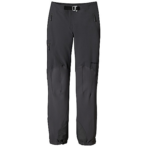 Free Shipping. Patagonia Women's Alpine Guide Pant DECENT FEATURES of the Patagonia Women's Alpine Guide Pant Polartec Power Shield stretch-woven nylon/polyester soft-shell fabric is highly breathable, durable and wind- and water-resistant Separating waist with zip fly and hook-and-loop tab closure has built-in separating belt with adjustable slider-hook buckle lies flat under a harness or backpack Brushed interior for next-to-skin comfort Two hand warmer pockets and one thigh pocket, all with reverse-coil DWR-treated zippers Articulated knees for optimal mobility Alpine boot-compatible, zippered cuffs with snap tabs, scuff guards and gripper elastic cuffs with tie-down loops The SPECS Regular fit   Weight: 18.1 oz / 513 g Body: 7.1-oz Polartec Power Shield stretch-woven 46% nylon/46% polyester/8% spandex Reinforcement: 9.5-oz Polartec brushed, stretch-woven 57% polyester/36% nylon/7% spandex Body and reinforcements have a Deluge DWR (durable water repellent) finish This product can only be shipped within the United States. Please don't hate us. - $229.00