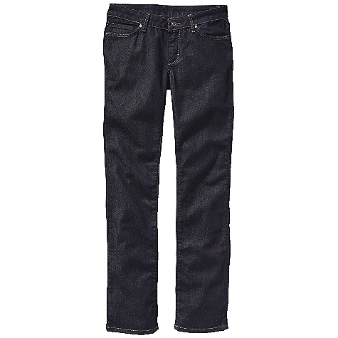 Free Shipping. Patagonia Women's Low Rise Straight Jean DECENT FEATURES of the Patagonia Women's Low Rise Straight Jean Organic cotton denim with stretch for fit and comfort Classic 5-pocket-jeans styling Zip fly with button shank closure Pocket bags are made of organic cotton Polyester twill with a bandana style indigo print Initially snug but will eventually conform to your body The SPECS Slim fit Inseam: 32in. Dark Wash: 11-oz 98% organic cotton 2% spandex denim Light Grey Wash: 9.5-oz 99% organic cotton 1% spandex denim This product can only be shipped within the United States. Please don't hate us. - $89.00