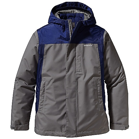 On Sale. Free Shipping. Patagonia Boys' 3-In-1 Jacket DECENT FEATURES of the Patagonia Boys' 3-In-1 Jacket H2No Performance Standard 2-layer polyester shell and durable 2.5-layer nylon contrast with a waterproof/breathable barrier and Deluge DWR finish fully-taped seams 150-g Thermo green insulation stays warm even when wet Outer shell: Three-panel hood construction with slightly extended brim and internal elasticized gusset for a stay-put fit full-zip with external storm flap and a hook-and-loop closure and mini internal zipper cover Shell with contrast yoke and side panel detail and a mini-powder skirt to seal out snow; powder skirt attaches to Snow shot Pants Covered zippered chest pocket two hand warmer pockets with reflective webbing pulls one internal draw cord at hem adjustable hook-and-loop closure at sleeve opening Collar lined with brushed polyester jersey and a spandex binding finish liner is quilted for a street-savvy look Hand-me-down ID label The SPECS Relaxed fit Weight: 37.6 oz / 1066 g H2No Performance Standard Shell: 2-layer, 4.2-oz 100% polyester ripstop Shell Contrast: 2.5-layer, 2.6-oz 50-denier nylon ripstop Both with a waterproof/breathable barrier and a Deluge DWR finish Shell Lining: 100% polyester mesh Zip-out jacket and lining: 2-oz 100% polyester plain weave Both with a Deluge DWR finish Insulation: 150-g Thermo green 100% polyester (90% recycled) This product can only be shipped within the United States. Please don't hate us. - $182.99